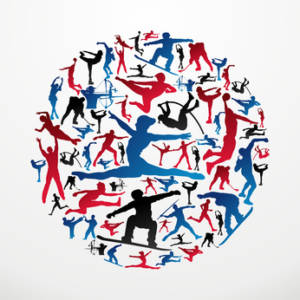 Olympics Sports silhouettes circle